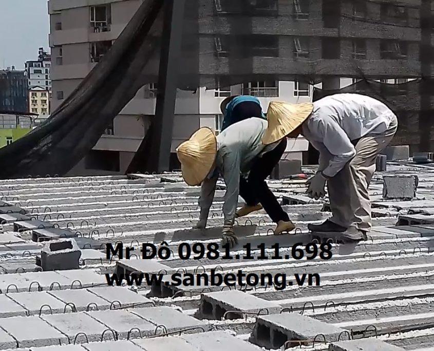 Công trình 2000m2 sàn bê tông nhẹ Xuân Mai và khung thép tại Cầu Giấy