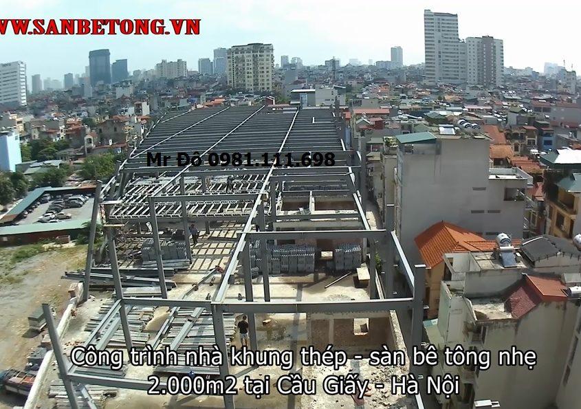 Công trình sàn bê tông nhẹ và khung thép từ trên cao