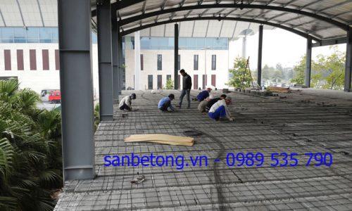 Toàn cảnh thi công sàn bê tông nhẹ - khung thép tiền chế tại TT Hội nghị Quốc gia