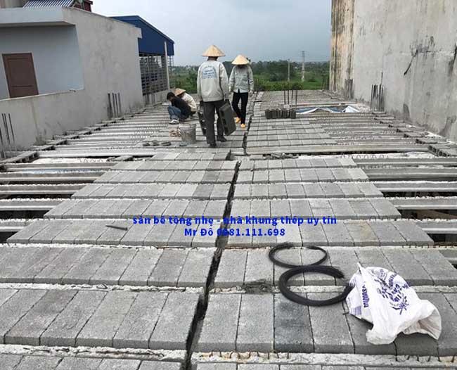 Toàn cảnh sàn bê tông nhẹ 200m2 tại Thạch Thất