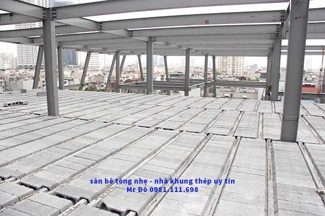 Toàn cảnh mặt sàn bê tông nhẹ 2.000m2 tại Cầu Giấy - Hà Nội