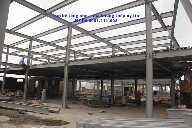Toàn cảnh công trình sàn bê tông nhẹ và khung thép tiền chế 2.000m2 tại Cầu Giấy - Hà Nội