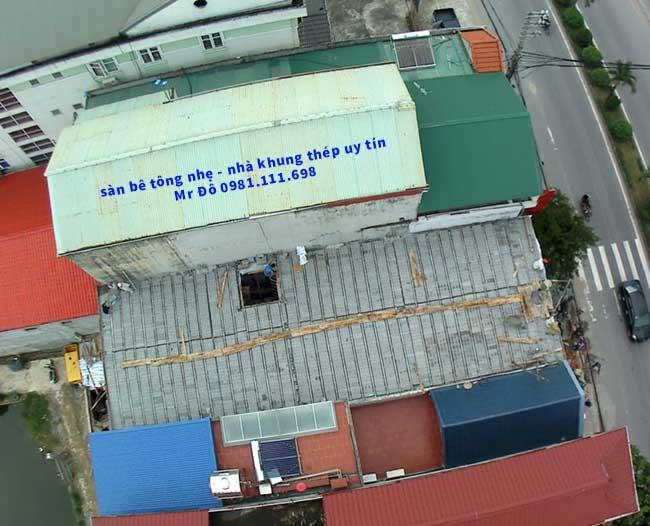 Sàn bê tông nhẹ 200m2 tại Thạch Thất nhìn từ trên cao