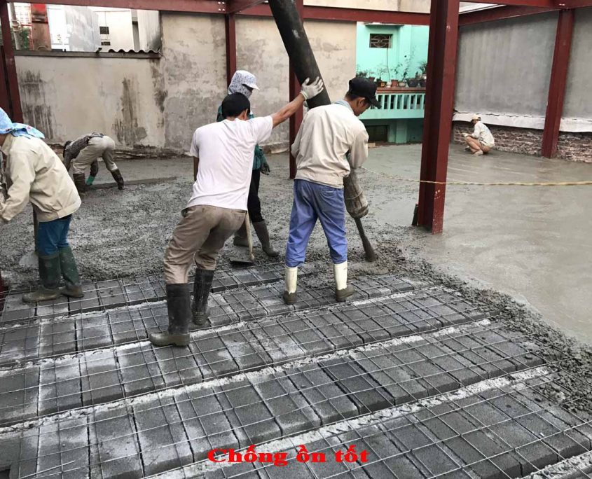 sàn bê tông siêu nhẹ vẫn sử dụng bê tông tươi tạo kết dính