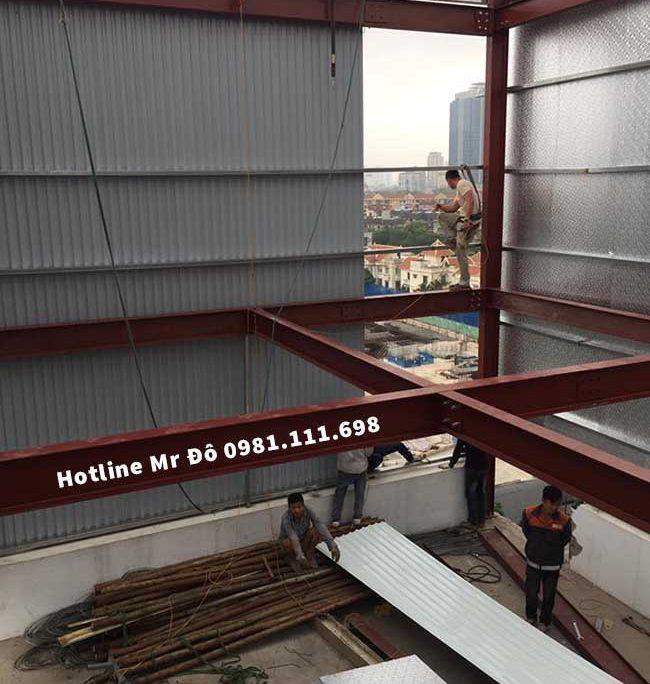 300m2 sàn bê tông nhẹ kết hợp khung thép tiền chế