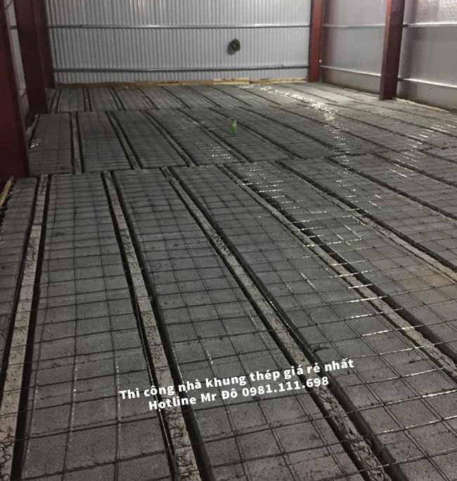 300m2 sàn bê tông nhẹ được lắp ghép hoàn thành
