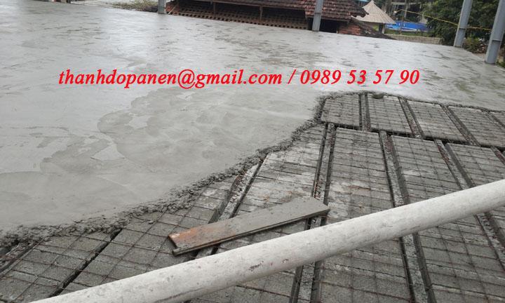 Sàn panel nhẹ - bê tông siêu nhẹ sử dụng lớp bê tông tươi 4cm tạo kết dính