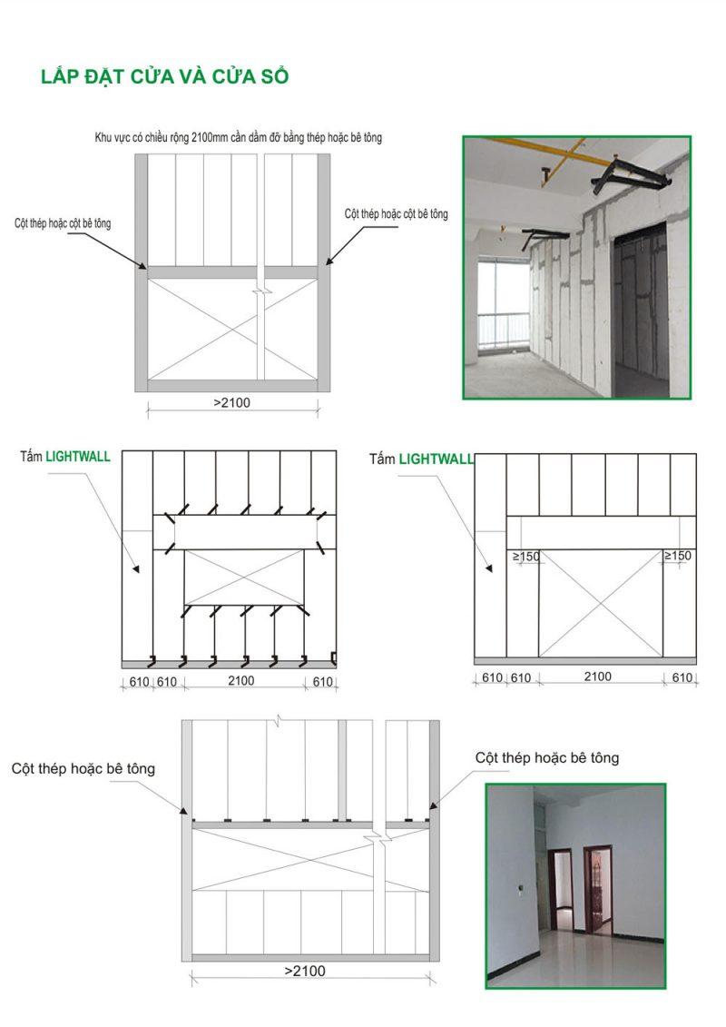 Thi công tấm bê tông nhẹ tại khu vực cửa và cửa số
