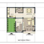 Thiết kế tầng 1 nhà 2 mặt phố 2 tầng 1 tum