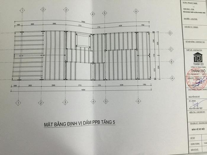 Bản vẽ định vị dầm bê tông dự ứng lực công trình nhà khung thép tiền chế và sàn bê tông nhẹ tại số 2 ngõ 93 Trung kính – Cầu giấy – Hà nội