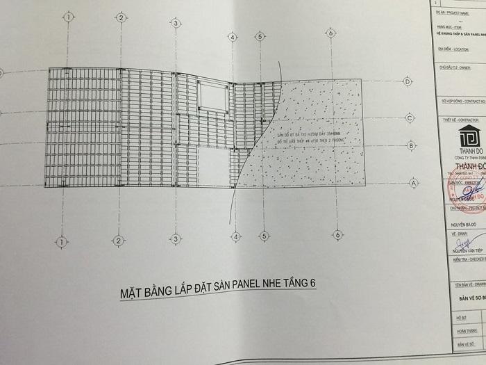 Bản vẽ mặt bằng lắp đặt sàn bê tông nhẹ tại số 2 ngõ 93 Trung kính – Cầu giấy – Hà nội