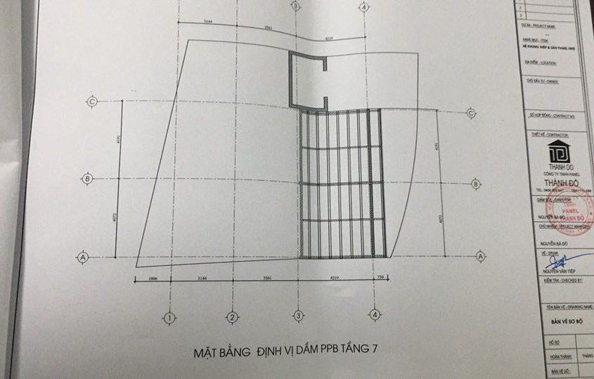Bản vẽ mặt bằng định vị dầm bê tông PPB tầng 7