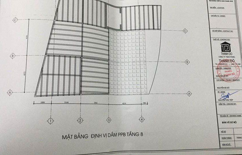 Bản vẽ mặt bằng định vị dầm bê tông cho sàn bê tông nhẹ tại Trần Duy Hưng
