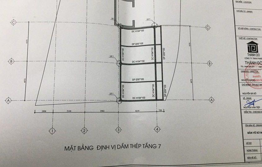 Bản vẽ mặt bằng định vị khung thép tầng 7