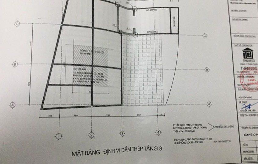 Bản vẽ mặt bằng định vị khung thép tầng 8