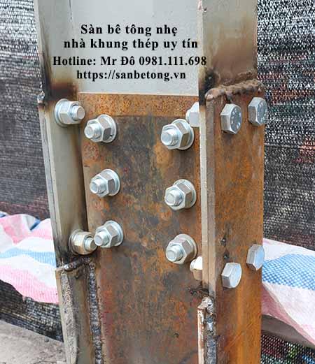 Bản mã nối trong thi công nhà khung thép tiền chế