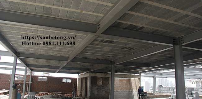 Mặt dưới sàn bê tông nhẹ do Panel Thành Đô thi công tại Hà Nội