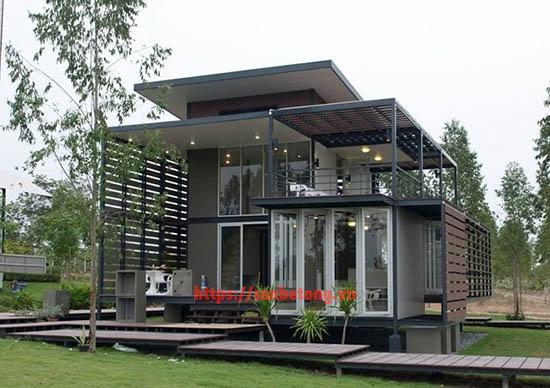 Một mẫu nhà khung thép 2 tầng đẹp