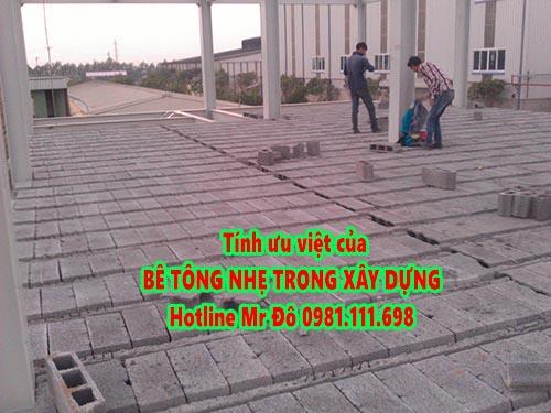 Bê tông nhẹ có nhiều tính ưu việt trong làm sàn nhà, tường nhà