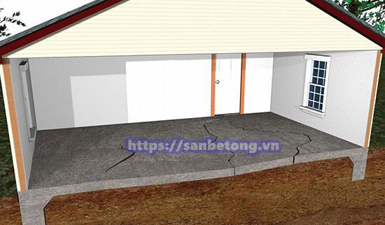 Nứt sàn bê tông do nền nhà quá yếu