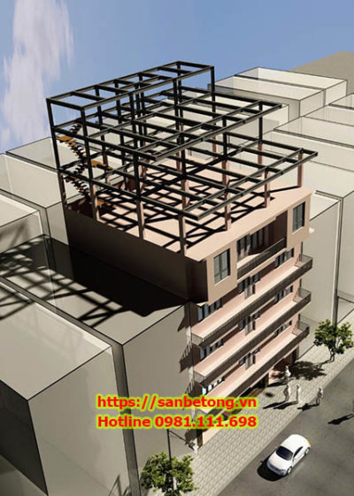 Một mẫu nhà khung thép trên phố