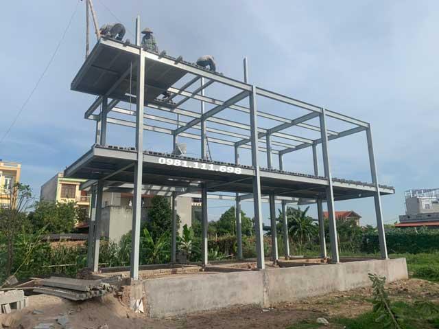 Thi công sàn bê tông nhẹ Xuân Mai và khung thép tại Thái Bình