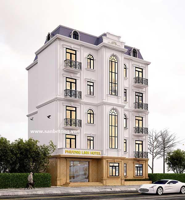 Phối cảnh tổng thể khách sạn Phương Linh khi hoàn thiện