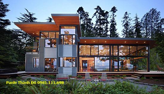 Một ngôi nhà làm bằng thép tiền chế đẹp và hiện đại